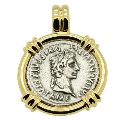 SOLD Caesar Augustus Denarius Pendant. Please Explore Our Roman Pendants For Similar Items.
