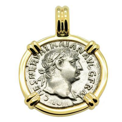 Emperor Trajan and Mars Denarius Pendant