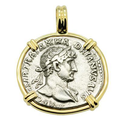 Emperor Hadrian and Mars Denarius Pendant