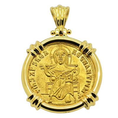 SOLD Jesus Christ Solidus Pendant. Please Explore Our Gold Coin Category For Similar Items.