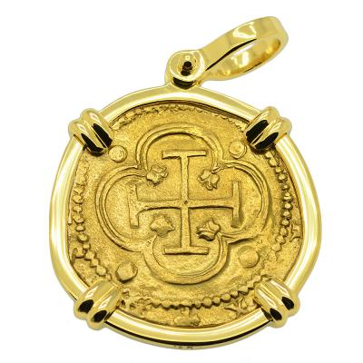 SOLD King Philip II Two Escudos Doubloon Pendant. Please Explore Our Spanish Treasure Pendants For Similar Items.