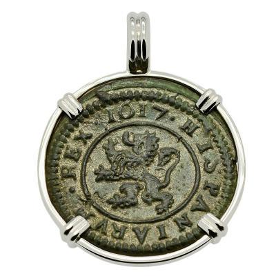 SOLD King Philip III Four Maravedis Pendant. Please Explore Our Spanish Treasure Pendants For Similar Items.
