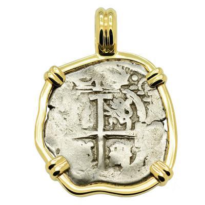 SOLD King Charles II Spanish 1 Real Pendant. Please Explore our Spanish Treasure Pendants for Similar Items.