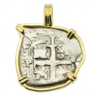 SOLD King Charles II Spanish 1 Real Pendant. Please Explore Our Spanish Treasure Pendants For Similar Items.