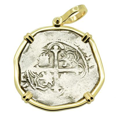 SOLD King Philip II Spanish 2 Reales Pendant. Please Explore Our Spanish Treasure Pendants For Similar Items.