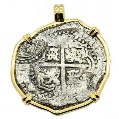 SOLD La Capitana Shipwreck 8 Reales Pendant. Please Explore Our Spanish Treasure Pendants For Similar Items.