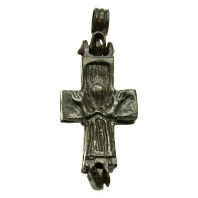 Byzantine Enkolpion Bronze Cross Pendant