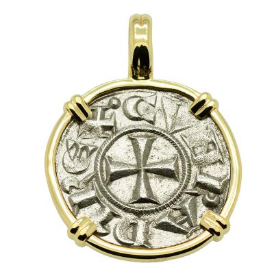 SOLD Crusader Cross Denaro Pendant. Please Explore Our Medieval Pendants For Similar Items.