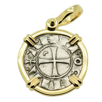 SOLD Crusader Cross Denier Pendant. Please Explore Our Medieval Pendants For Similar Items.