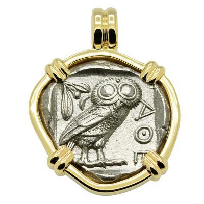 SOLD Owl and Athena Tetradrachm Pendant. Please Explore Our Greek Pendants For Similar Items.