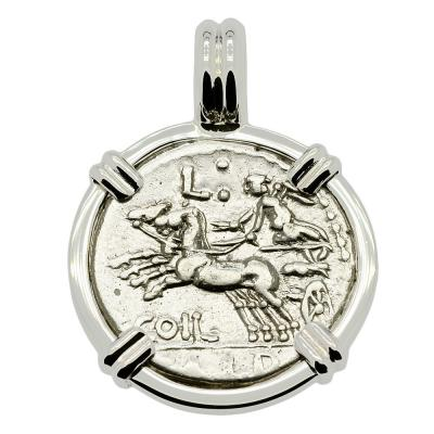 SOLD Victory Chariot and Roma Denarius Pendant. Please Explore Our Roman Pendants For Similar Items.