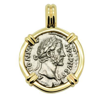 SOLD Emperor Antoninus Pius Denarius Pendant. Please Explore Our Roman Pendants For Similar Items.