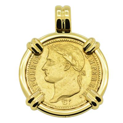 SOLD Napoleon 20 Francs Pendant. Please Explore Our Gold Coin Pendants For Similar Items.