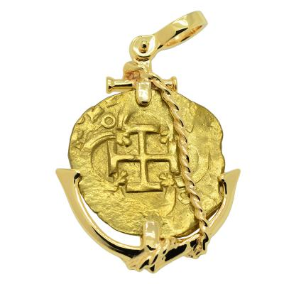SOLD King Philip III Two Escudos Doubloon Pendant. Please Explore Our Spanish Treasure Pendants For Similar Items.