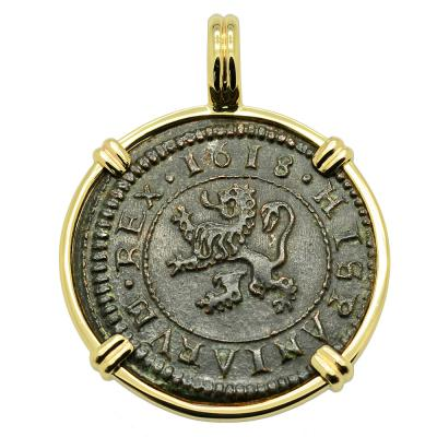SOLD King Philip III Four Maravedis Pendant. Please Explore Our Spanish Treasure Pendants For Similar Items.