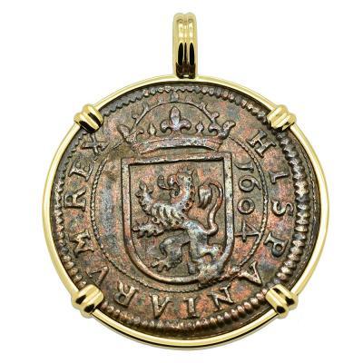 King Philip III Eight Maravedis Pendant