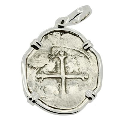 SOLD King Philip III Spanish 2 Reales Pendant. Please Explore Our Spanish Treasure Pendants For Similar Items.