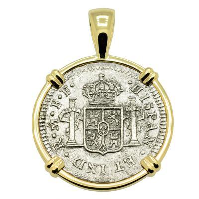 SOLD El Cazador Shipwreck Half Real Pendant. Please Explore Our Spanish Treasure Pendants For Similar Items.