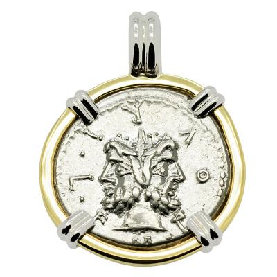 SOLD Janus and Roma Denarius Pendant. Please Explore Our Roman Pendants For Similar Items.
