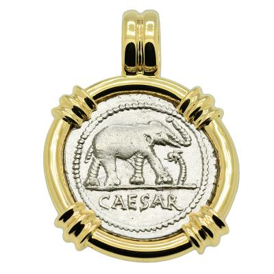 SOLD Julius Caesar Denarius Pendant. Please Explore Our Roman Pendants For Similar Items.
