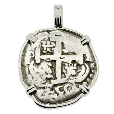 SOLD King Ferdinand VI Spanish 2 Reales Pendant. Please Explore Our Spanish Treasure Pendants For Similar Items.