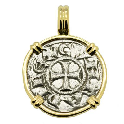 Genoa Italy 1139-1252, Crusader Cross coin gold pendant.