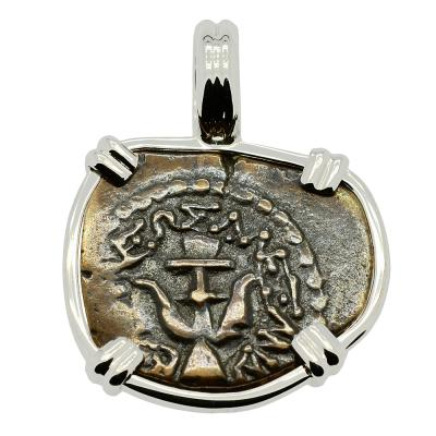 Holy Land 103-76 BC, Biblical Widow's Mite in 14k white gold pendant