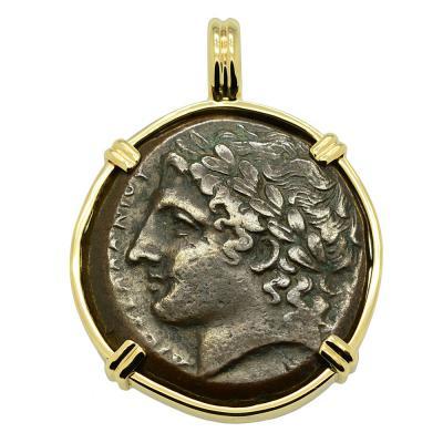 Greek Syracuse 287-278 BC, Zeus bronze coin in 14k gold pendant.