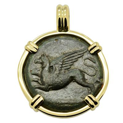 Greek Syracuse 367-344 BC, Griffin bronze coin in gold pendant.
