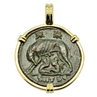 Roman Empire AD 330 - 336, She-Wolf coin gold pendant.