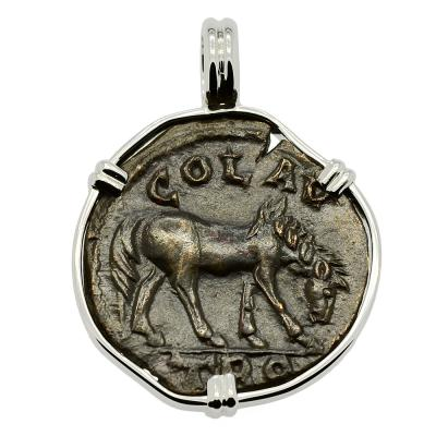 Roman Empire AD 250-268, Horse and Tyche coin in 14k white gold pendant.