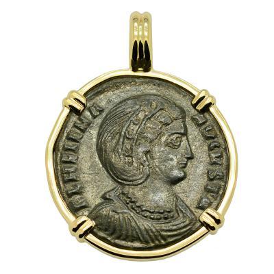 Roman AD 324–327, Saint Helena coin in 14k gold pendant.