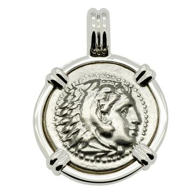 Lifetime Issue, Alexander the Great coin in 14k white gold pendant.