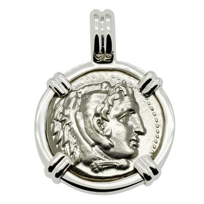 Alexander the Great coin in 14k white gold pendant.