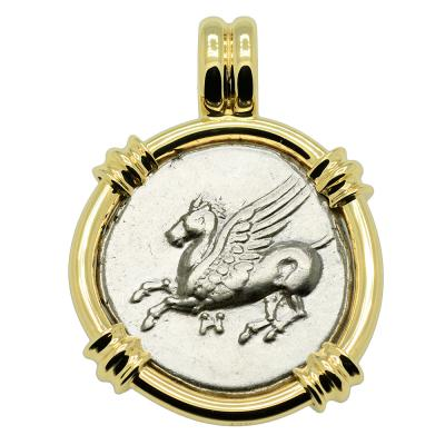 Greek 320-280 BC, Pegasus and Athena coin in 14k gold pendant.