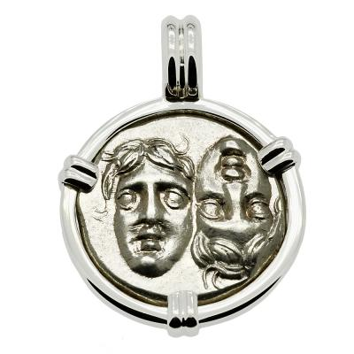 Gemini Twins of Istros coin in 14k white gold pendant.