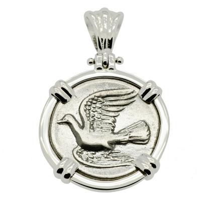 Dove and Chimaera triobol in 14k white gold pendant.