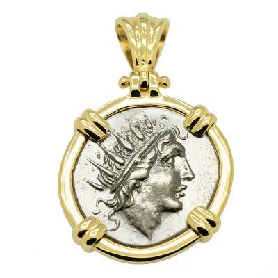 Sun God Helios coin in 14k gold pendant.