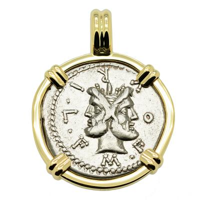 Janus and Roma coin in 14k gold pendant.