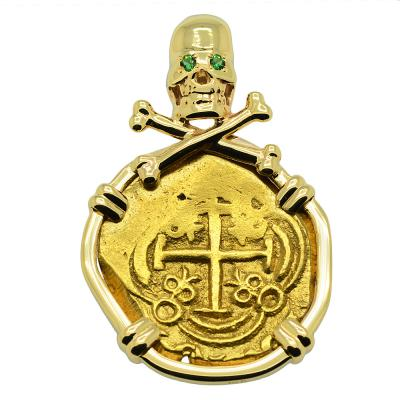 Spanish Doubloon 1702-1715, in gold Skull and Bones pendant