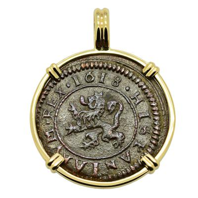 King Philip III Four Maravedis Pendant
