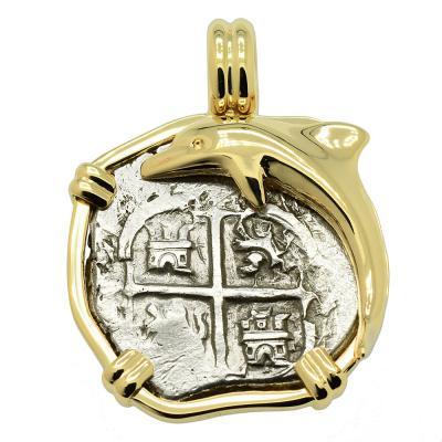 1679 Spanish Treasure Coin Dolphin Pendant.