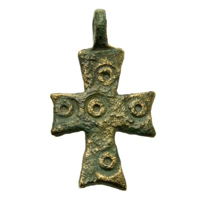 Byzantine Bronze Five Wounds Cross Pendant