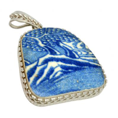 British Pottery Artifact in silver pendant