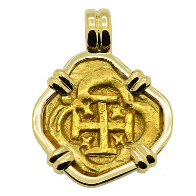 Spanish 2 escudos Doubloon 1621-1665 in 14k gold pendant.