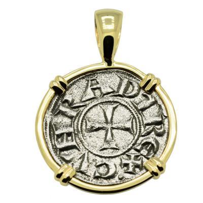Medieval Italian Crusader Cross coin gold pendant