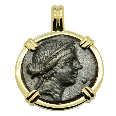 Greek Goddess of Love Aphrodite coin in gold pendant
