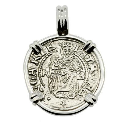 1537 Madonna and Child coin white gold pendant