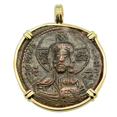 Byzantine 976-1025 Jesus Christ coin in gold pendant