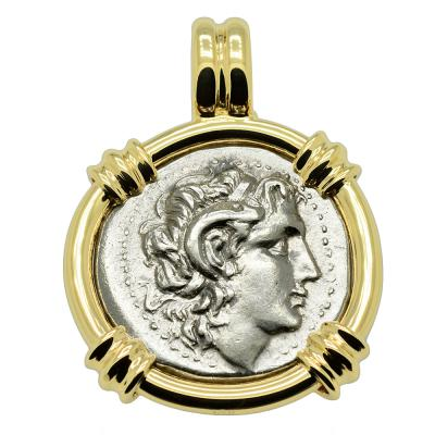 305-287 BC Alexander the Great drachm in gold pendant